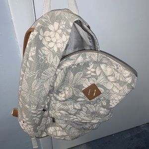 Grey and White Floral Backpack